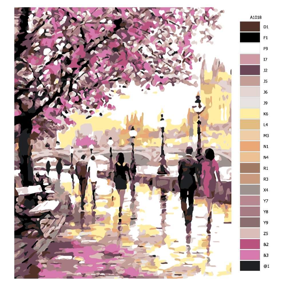 Návod pro malování podle čísel Město ve žlutorůžové