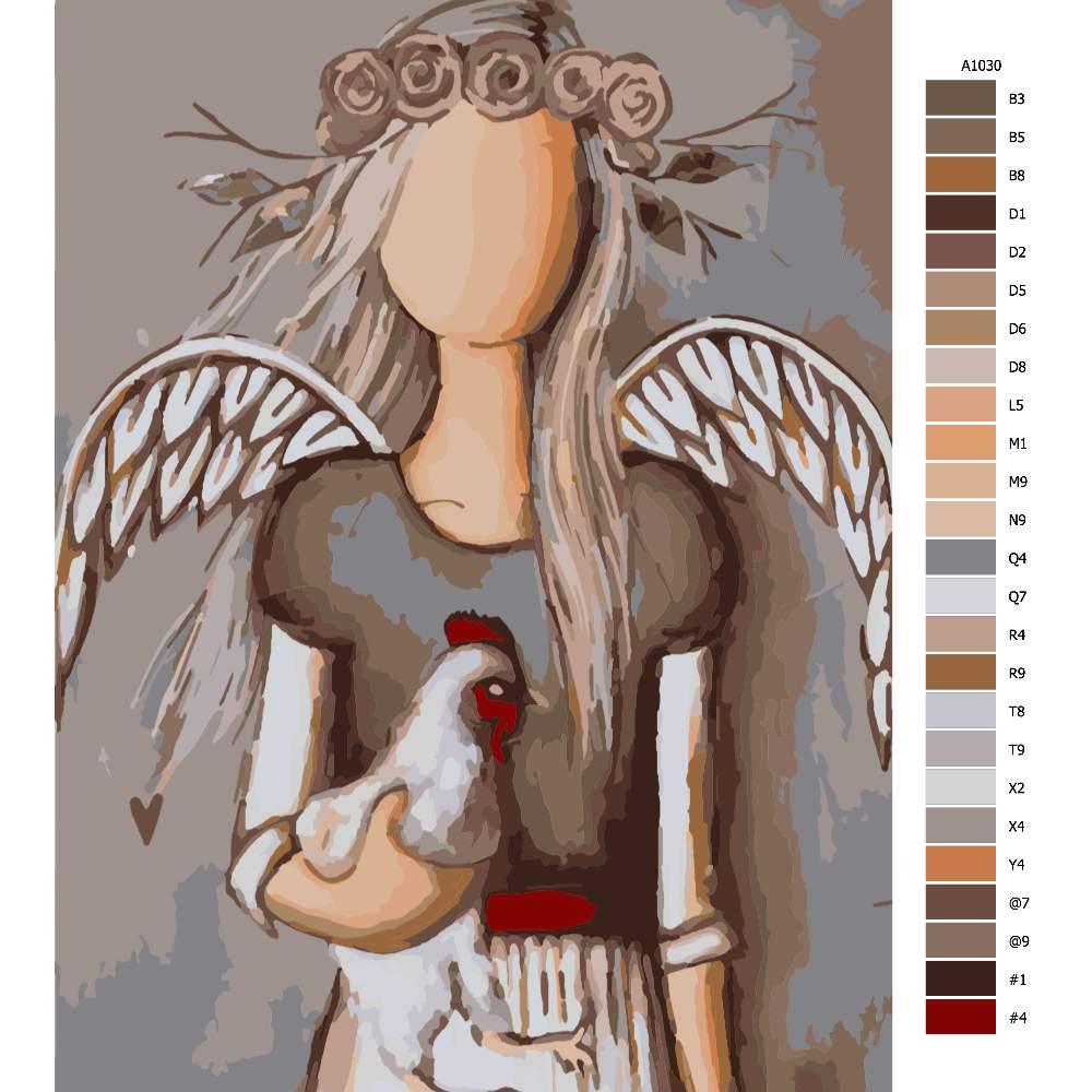 Návod pro malování podle čísel Anděl se slepicí