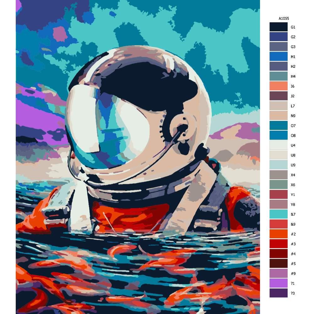 Návod pro malování podle čísel Plovoucí astronout