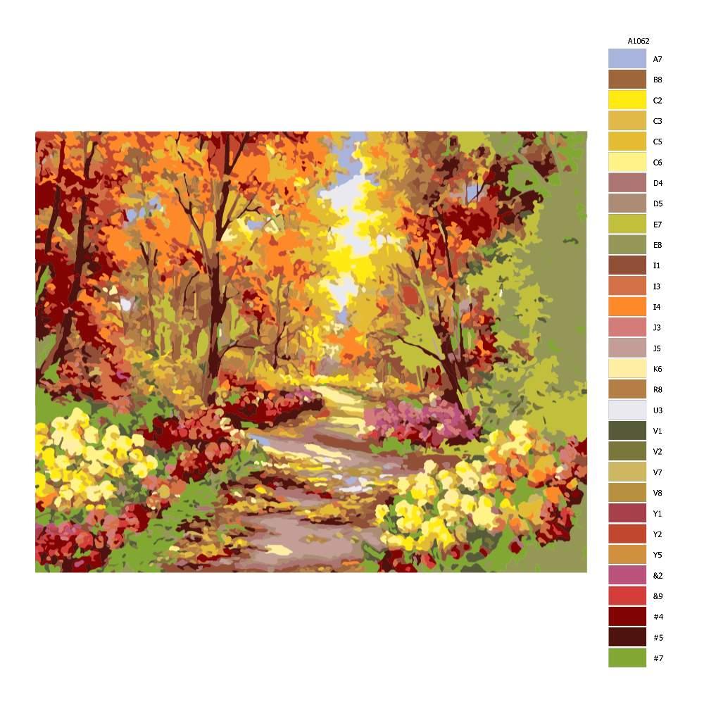 Návod pro malování podle čísel Podzimní park