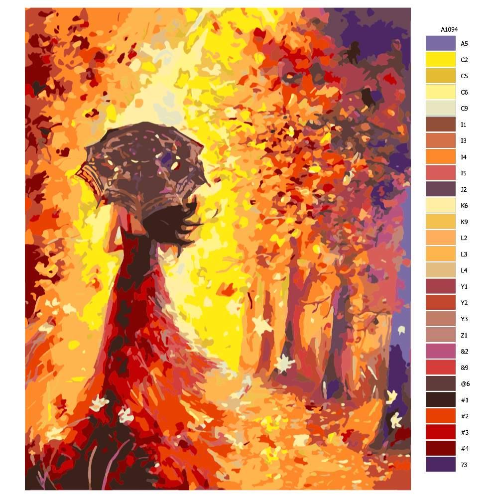 Návod pro malování podle čísel Žena na procházce