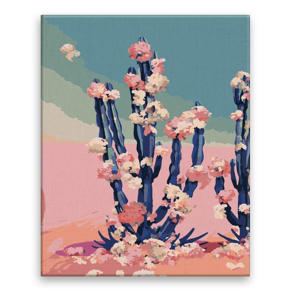 Malování podle čísel Kveoucí kaktus na sahaře