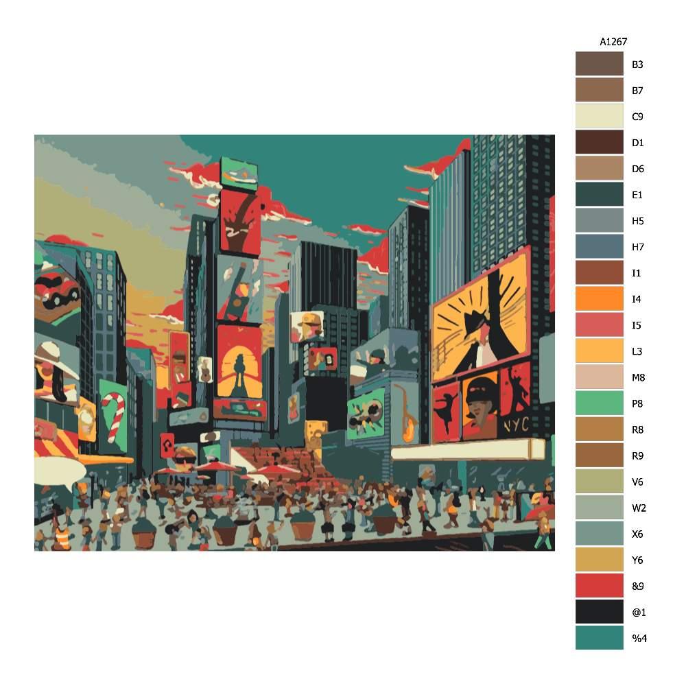 Návod pro malování podle čísel Náměstí v New Yorku