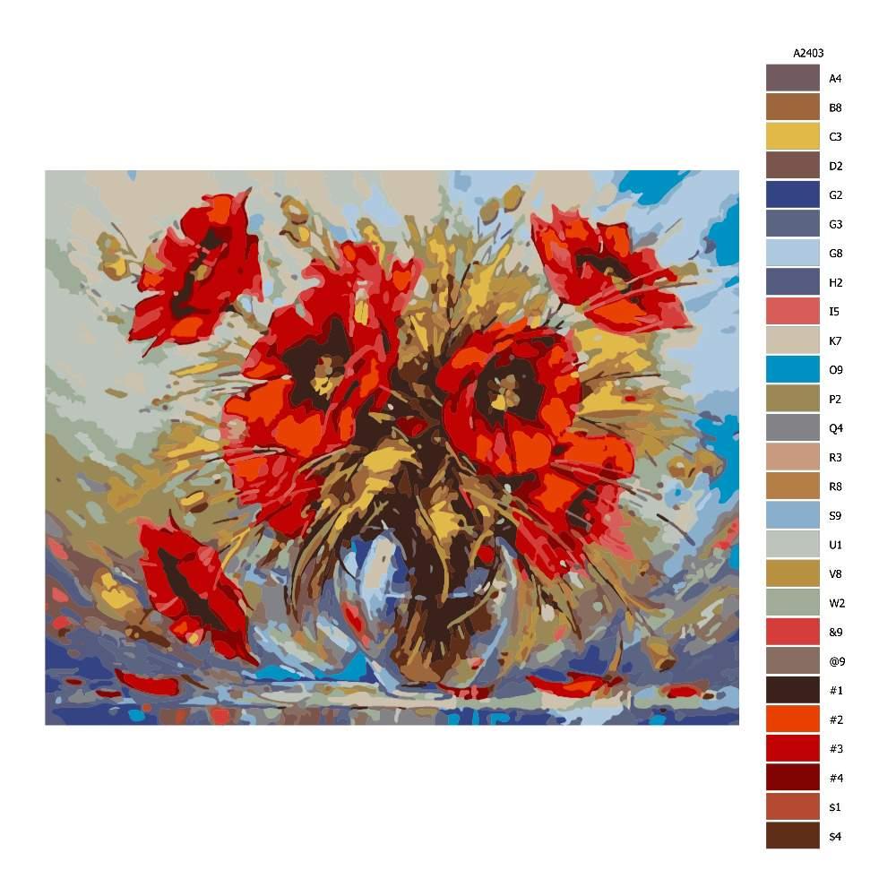 Návod pro malování podle čísel Váza s vlčími máky