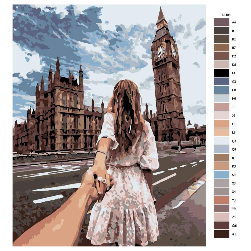 Návod pro malování podle čísel Víkend v Londýně