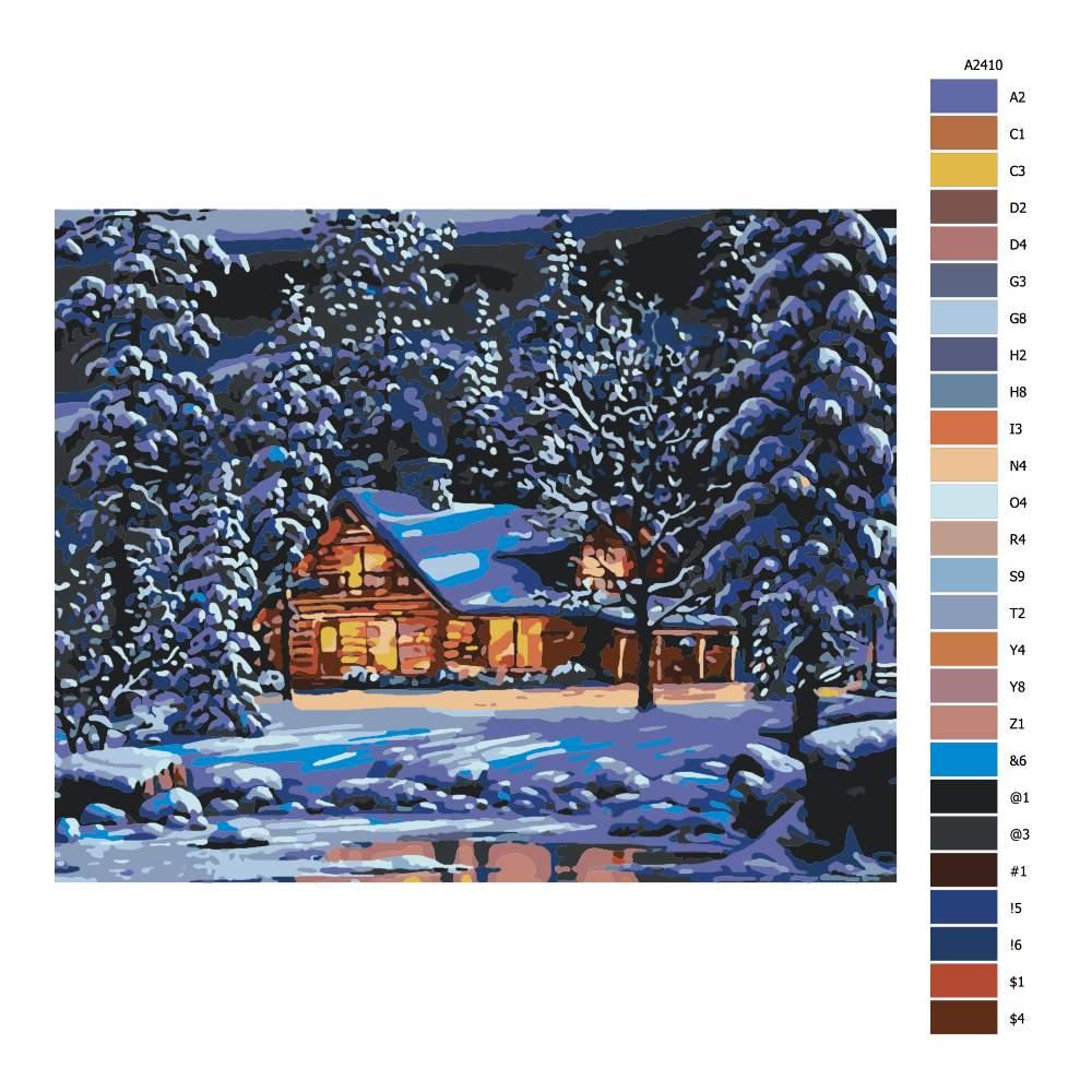 Návod pro malování podle čísel Zimní horská chata
